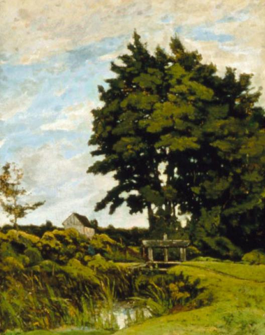 Анри Арпиньи. Луг в Бурбонэ, пейзаж со старой плотиной