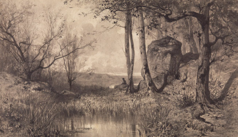 Адольф Аппиан. Рыбак на пруду у реки Эн