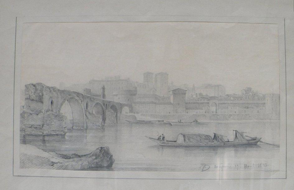 Исидор Даньян. Мост Сен-Бенезе в Авиньоне (зарисовка)